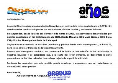 imagen de ARAGUA - Nota Informativa con motivo de la crisis del COVID-19